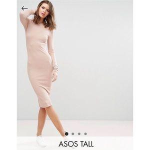 ASOS Tall nude long sleeve midi bodycon dress